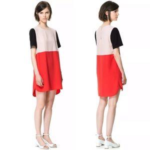 ZARA short sleeve color block shift dress
